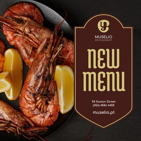 Plantilla de diseño de Seafood Menu Offer Prawns with Lemon Instagram