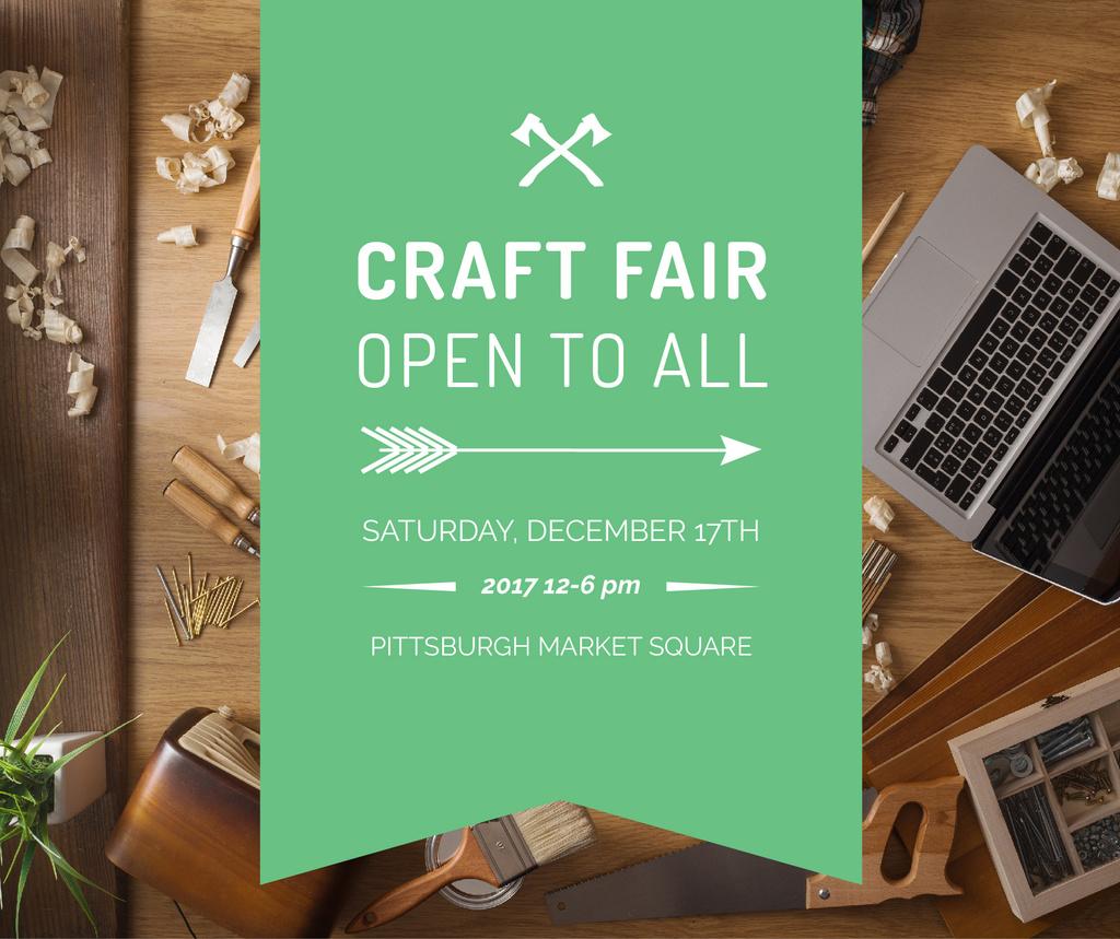 Craft Fair Announcement Wooden Toy and Tools Facebook Modelo de Design