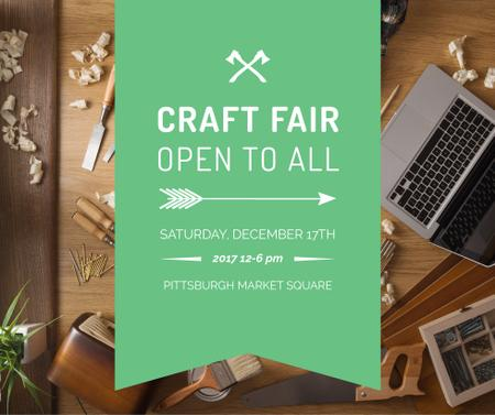 Ontwerpsjabloon van Facebook van Craft Fair Announcement Wooden Toy and Tools