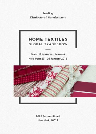 Home Textiles Event Announcement in Red Invitation Tasarım Şablonu