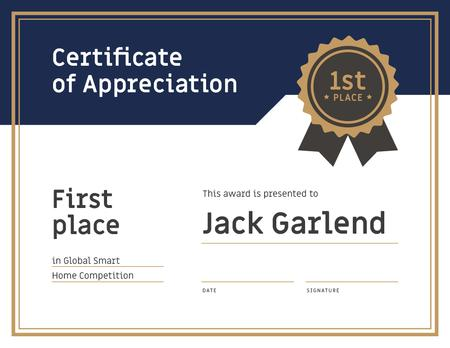 Winning Smart Home Competition appreciation in blue and golden Certificate Design Template