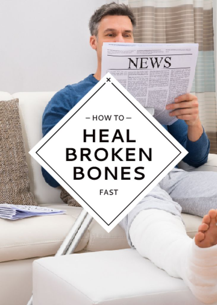 Man with broken bones sitting on sofa reading newspaper — Crea un design