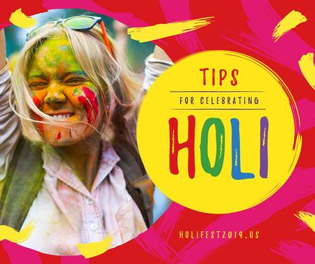 Girl at Indian Holi festival celebration Facebook Design Template
