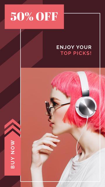Plantilla de diseño de Girl listening to music in headphones Instagram Story