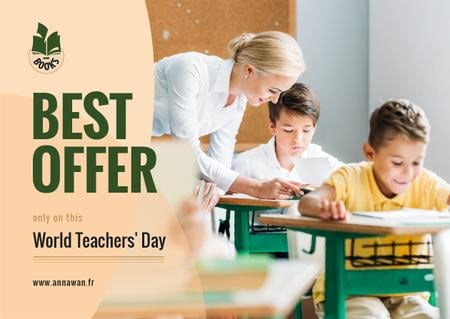 World Teachers' Day Sale Kids in Classroom with Teacher Card Design Template