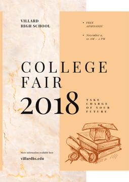 College Fair Announcement Books with Graduation Hat | Poster Template