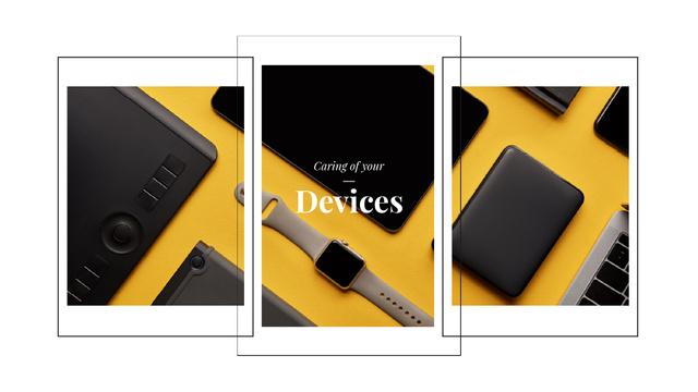 Plantilla de diseño de Smart Watch and Digital Devices in Yellow Full HD video