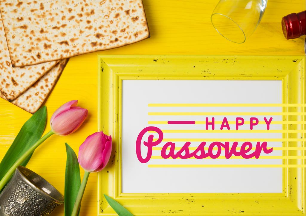 Happy Passover Holiday Bread and Tulips | Postcard Template — Modelo de projeto