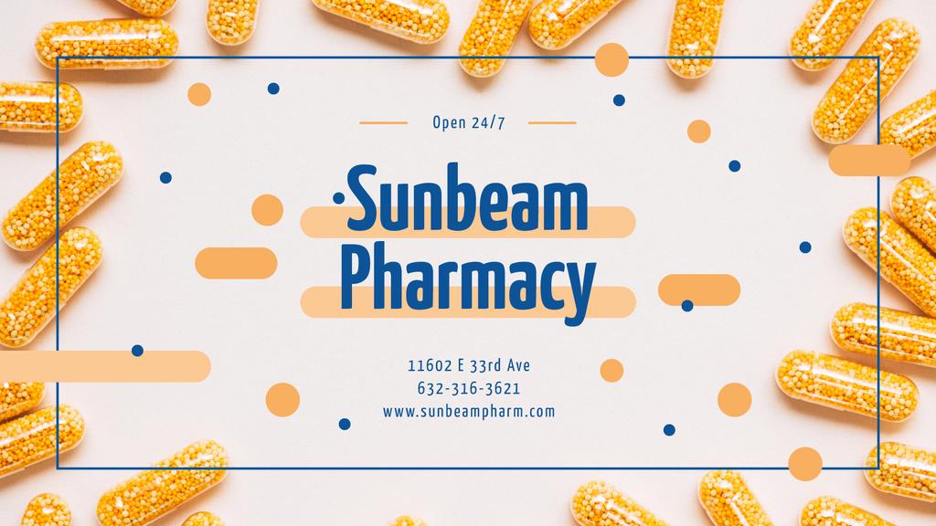 Pharmacy Ad Yellow Medication Capsules — Modelo de projeto