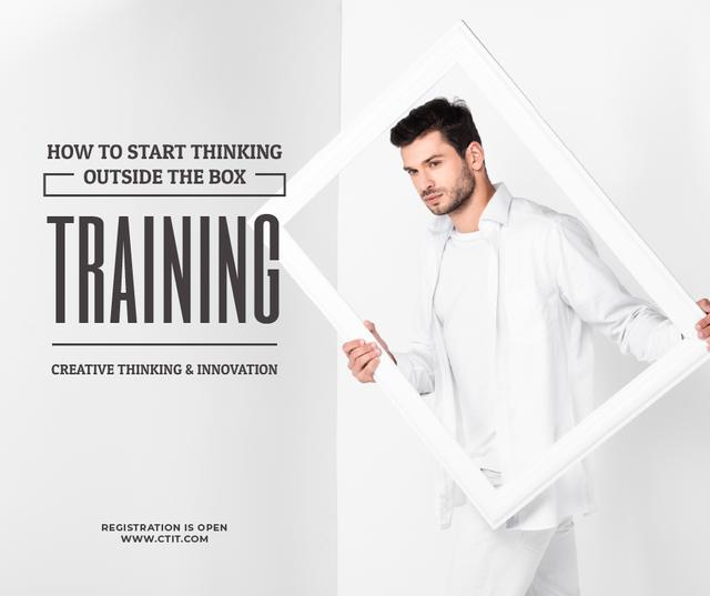 Creativity Lecture Man Holding Frame in White Facebook Tasarım Şablonu