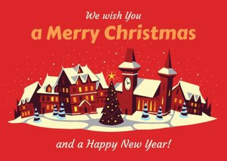 Plantilla de diseño de Merry Christmas Greeting with Snow on Night Village Postcard