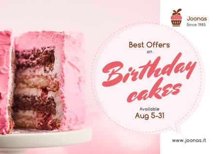 Birthday Offer Sweet Pink Cake Card – шаблон для дизайна