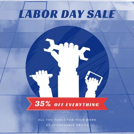 Labor Day Sale with Hands and Tools Animated Post Modelo de Design