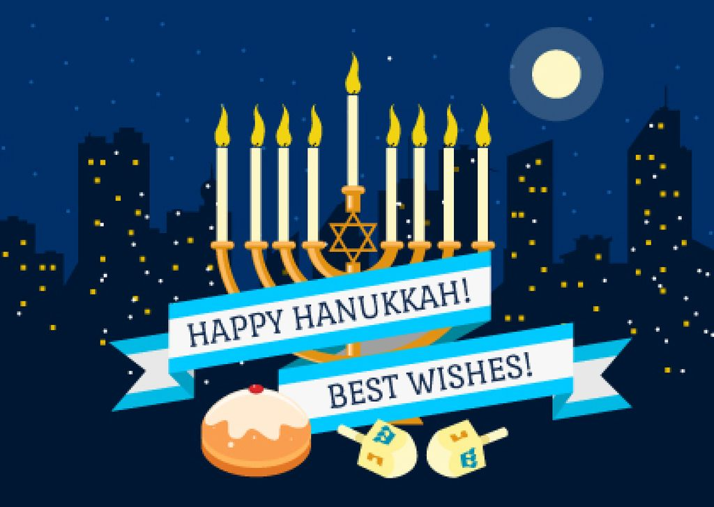 Happy Hanukkah greeting with Menorah and Night city — Maak een ontwerp