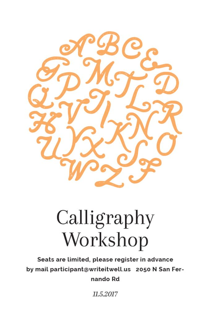 Calligraphy Workshop Announcement Letters on White — Modelo de projeto