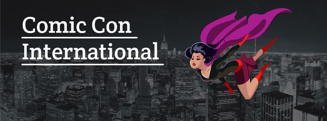 Comic Con International event Facebook cover Design Template