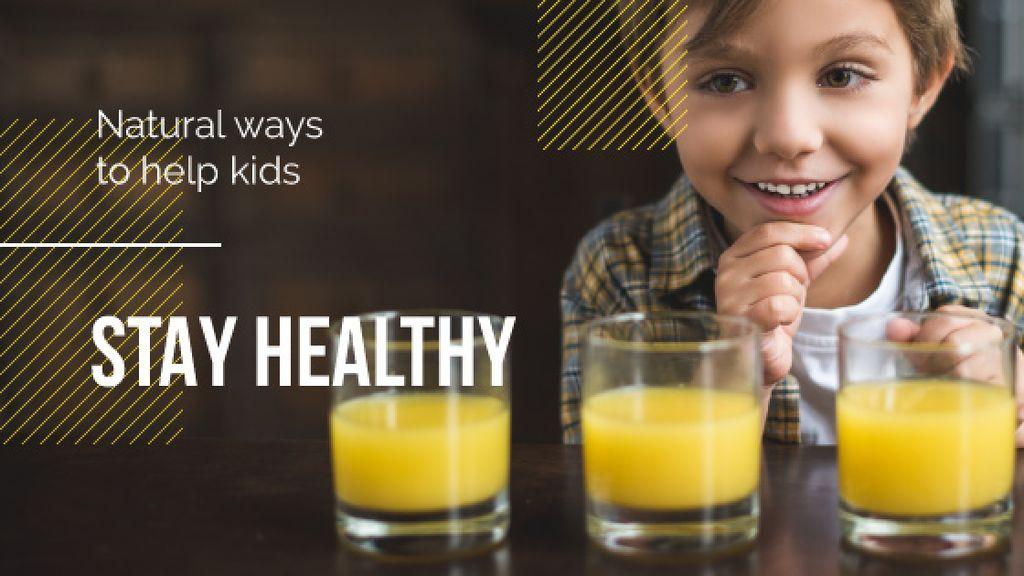Boy by juice in glasses — Maak een ontwerp
