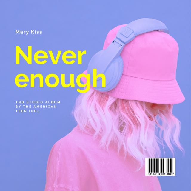 Stylish Girl in Headphones Album Cover Modelo de Design