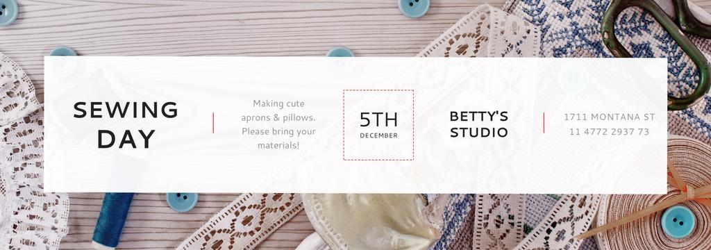 Sewing day event with needlework tools — Maak een ontwerp