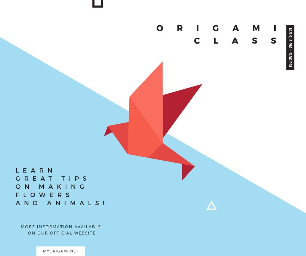 Origami Classes Invitation Paper Bird in Red Facebook Modelo de Design
