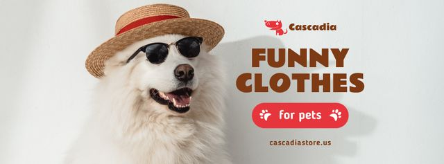 Pet Shop Offer with Funny Dog in Hat and Sunglasses Facebook cover Modelo de Design