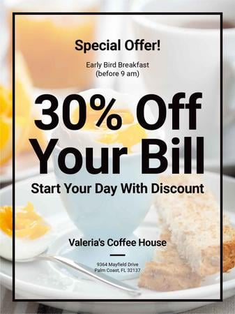 Template di design Early Bird Breakfast Discount Served Boiled Egg Poster US