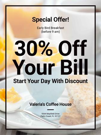 Early Bird Breakfast Discount Served Boiled Egg Poster US Tasarım Şablonu