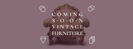 Ontwerpsjabloon van Facebook cover van Antique Furniture Ad with Luxury Armchair