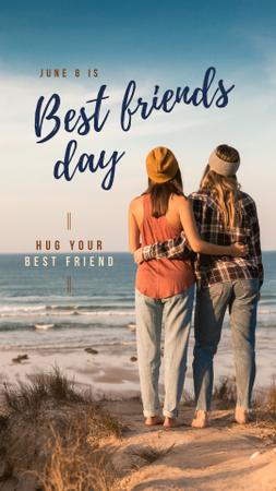 Designvorlage Two girls at the beach on Best Friends Day für Instagram Story