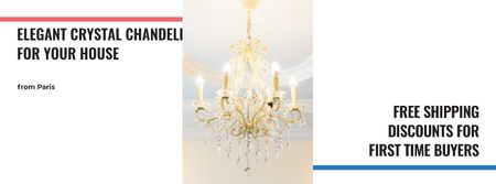 Elegant Crystal Chandelier in White Facebook cover – шаблон для дизайна