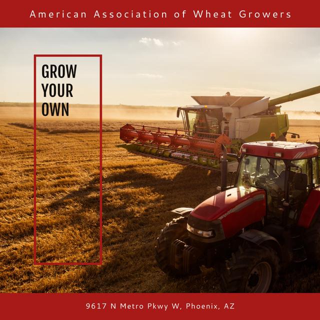 Tractors in Wheat field Instagram – шаблон для дизайна