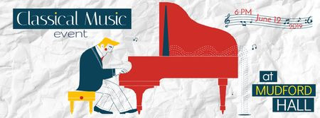 Plantilla de diseño de Music Event Announcement Man by Piano Facebook Video cover