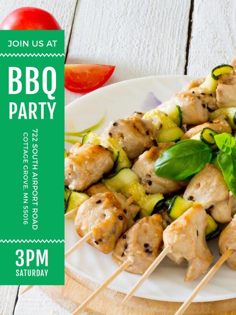 Plantilla de diseño de BBQ Party Grilled Chicken on Skewers Poster US