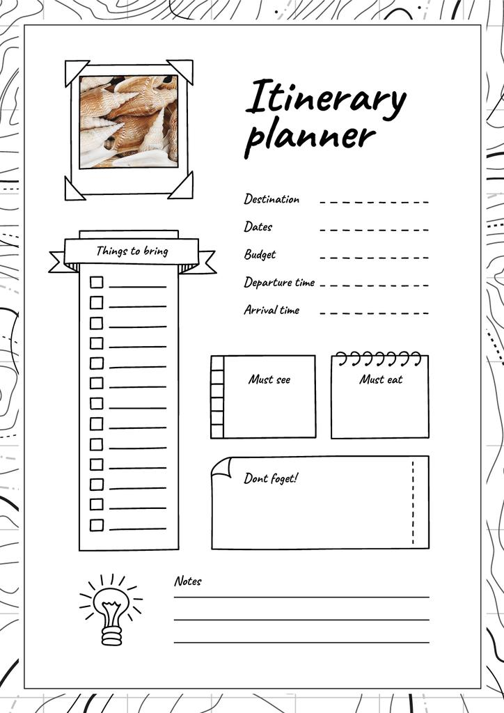 Itinerary Planner with Shells Schedule Plannerデザインテンプレート