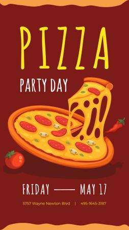 Modèle de visuel Pizza Party Day Announcement on red - Instagram Story