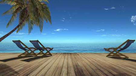 Wooden pier and Palm near the Sea Zoom Background – шаблон для дизайна