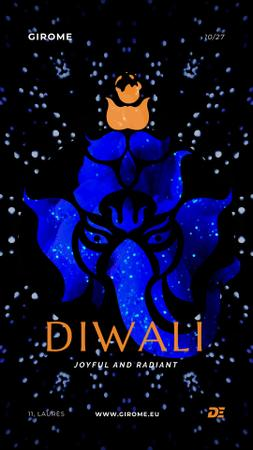 Happy Diwali Greeting with Elephant in Blue Instagram Video Story Design Template