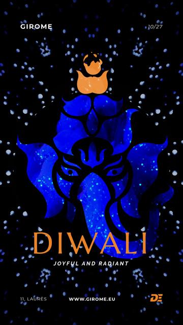 Happy Diwali Greeting with Elephant in Blue Instagram Video Story – шаблон для дизайна
