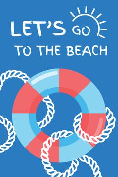 Beach poster with lifebuoy