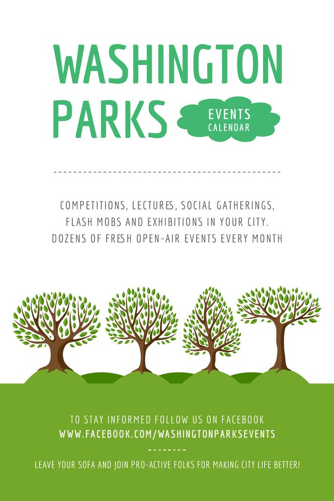 Park Event Announcement with Green Trees — Create a Design