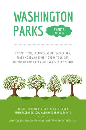 Modèle de visuel Park Event Announcement with Green Trees - Pinterest