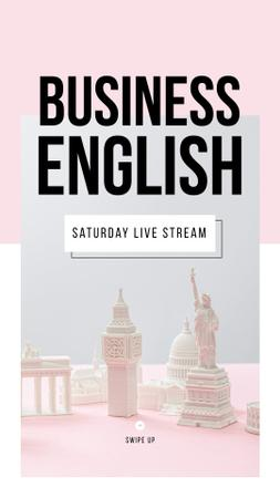 Ontwerpsjabloon van Instagram Story van Business English Live Stream annoucement