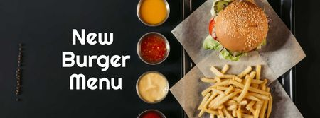 Fast Food Menu offer Burger and French Fries Facebook cover Modelo de Design