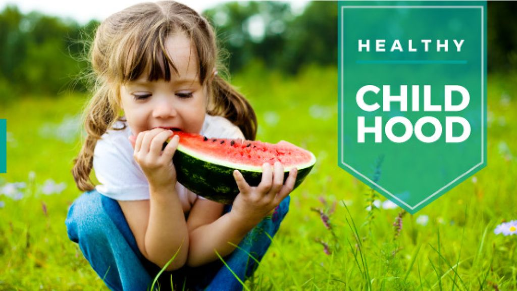healthy childhood concept with cute little girl eating watermelon — Создать дизайн