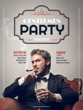 Plantilla de diseño de Gentlemen party invitation with Stylish Man Poster US