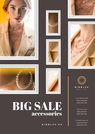 Jewelry Sale with Woman in Golden Accessories Poster – шаблон для дизайну