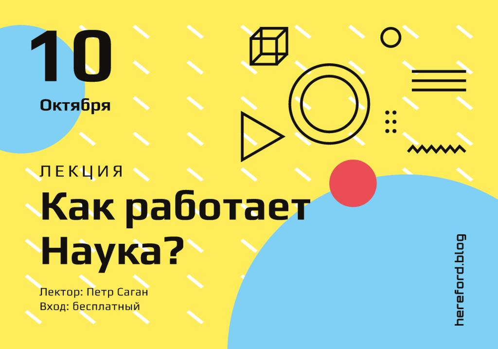 Scientific Event Announcement Geometric Pattern in Yellow | VK Universal Post — Créer un visuel