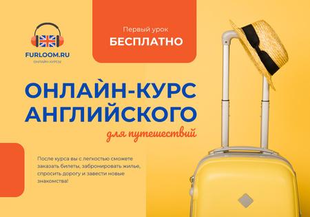 Plantilla de diseño de English for travelers online courses ad with Suitcase VK Universal Post
