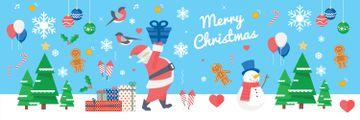Christmas Holiday Greeting Santa Delivering Gifts | Twitter Header Template