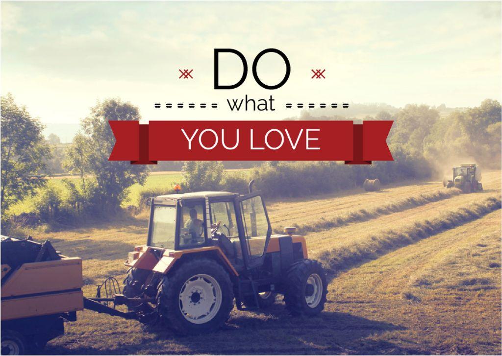 Plantilla de diseño de Tractor on mowed field with inspirational quote Card